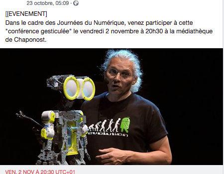 """""""De quelle Humanité le Robot est-il l'avenir ?"""" 2 nov 2018 - Chaponost (69) - Auditorium Médiathèque"""