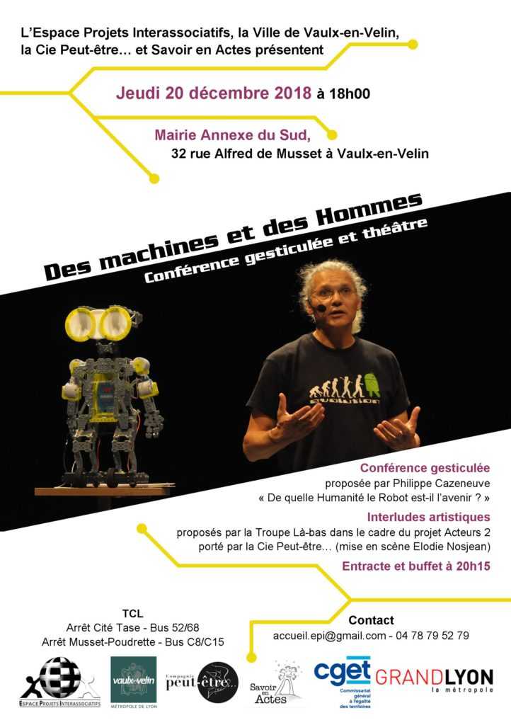 """Affiche Soirée """"Des machines et des Hommes"""" - 20/12/18 - Vaulx-en-Velin"""