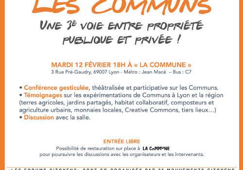 Les Communs, une 3e voie entre propriété publique et privée ! 12/02/19 à 18h - La Commune Lyon 7e