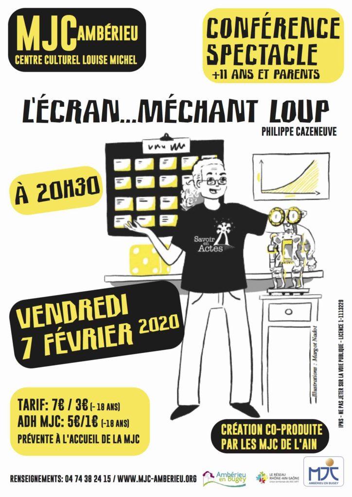 """Conférence-Spectacle """"L'Écran ... méchant loup ?"""" - MJC Ambérieu-en-Bugey vendredi 7 février 2020"""